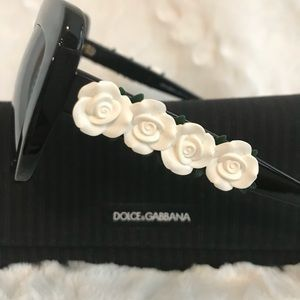 Dolce&Gabbana Blk Cat Eye Spanish Roses Sunglasses